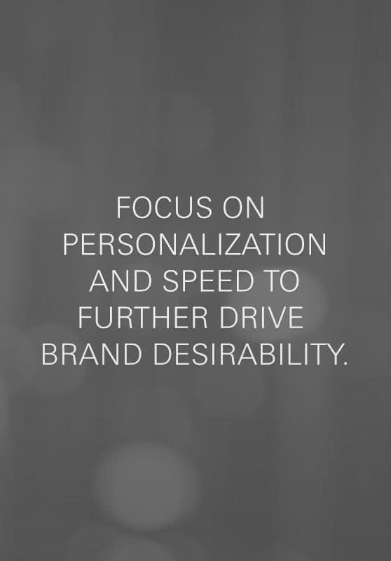 Focus on personalization and speed to further drive brand desirability